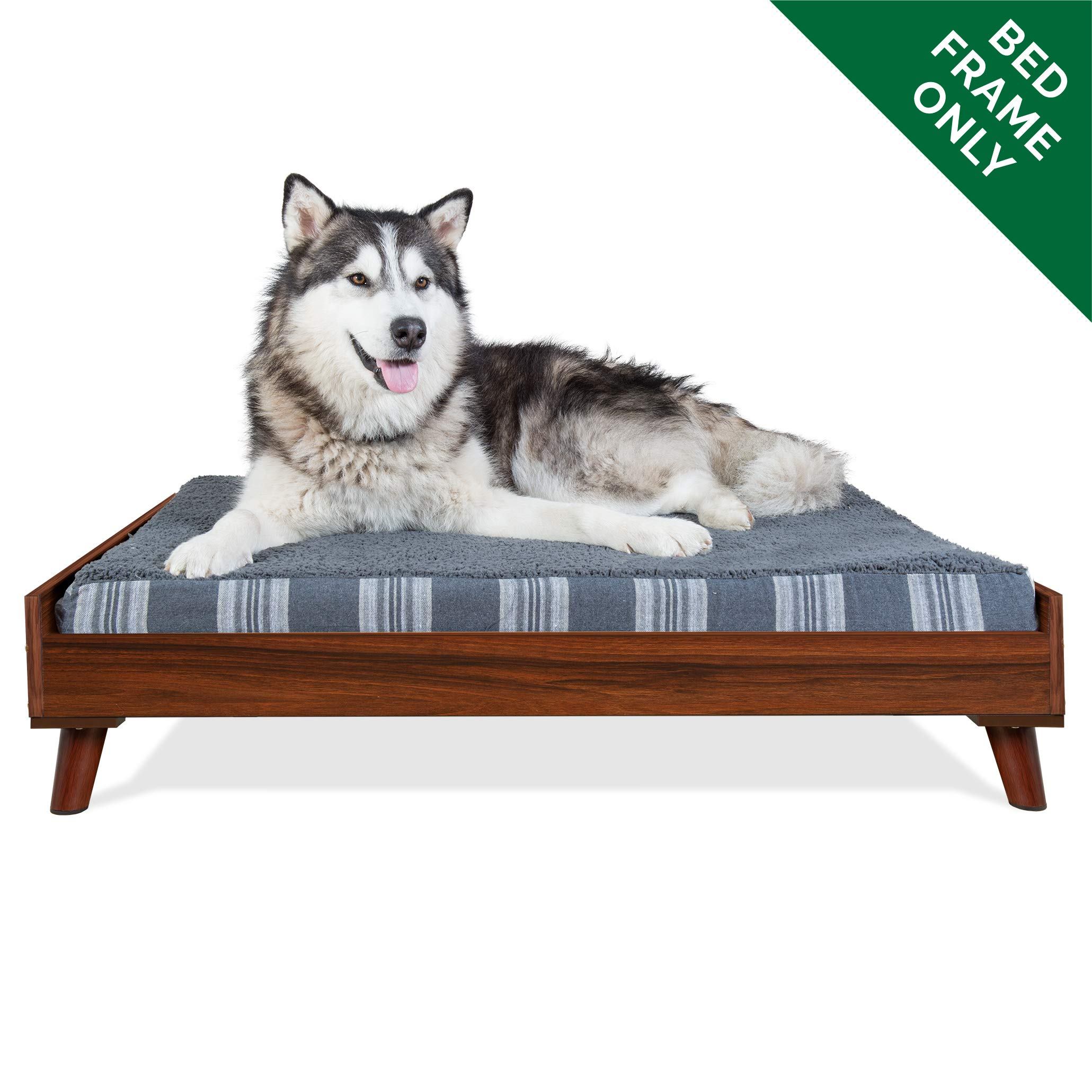 Furhaven Pet Dog Bed Frame | Mid-Century Modern Style Bed Frame Furniture for Pet Beds & Mattresses, Walnut, Jumbo by Furhaven