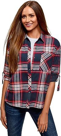 oodji Ultra Mujer Camisa a Cuadros con Bolsillo en el Pecho, Azul, ES 36 / XS: Amazon.es: Ropa y accesorios