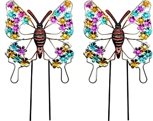 VOTENVO 16 Inch Butterfly Garden Stake Decor, Metal Butterfly Wall Art 3D Decoration for Yard Outdoor Ornaments, Walkway, Pathway, Yard, Lawn, Set of 2