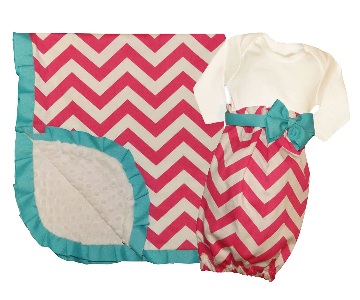 Caught ya lookin 'Baby Gift set, Girls rosa e bianco chevron Minky