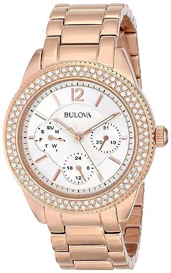 Bulova 97N101 - Reloj para mujeres, correa de acero inoxidable color oro rosa: Bulova: Amazon.es: Relojes