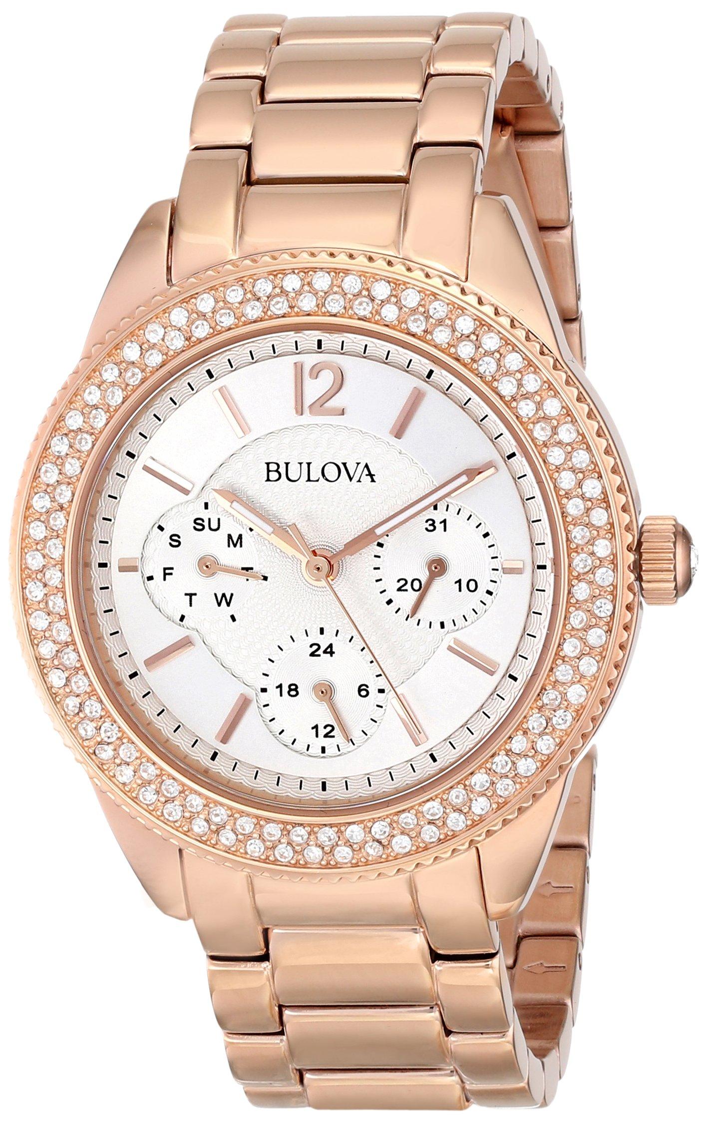 92664d8ce Bulova Women's 97N101 Swarovski Crystal Rose Gold Tone Watch - Get ...