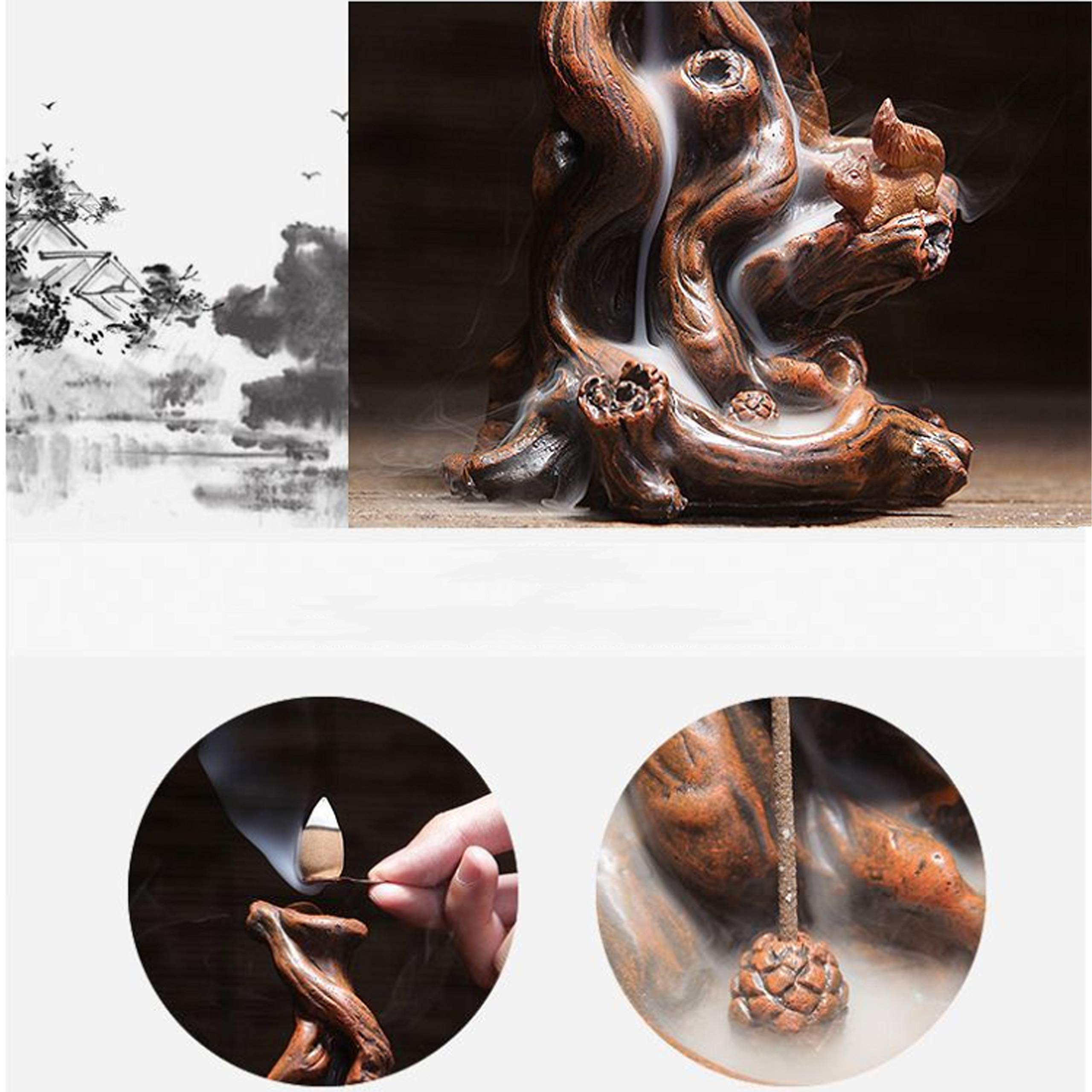 QIAN SHENG Backflow Incense Burner Incense Holder Ceramic Waterfall Incense Holder Home Decor Aromatherapy Ornament by QIAN SHENG (Image #7)