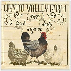 Stupell Industries Organic Farm Chicken Eggs Vintage Tan Beige, Design by Grace Popp Wall Plaque, 12 x 12