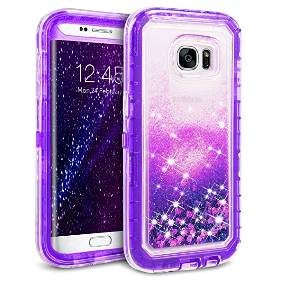 new arrival 93932 df0fd Galaxy S7 Edge Case, Dexnor Glitter 3D Bling Sparkle Flowing Liquid Case  Clear 3 in 1 Shockproof TPU Silicone Core + PC Frame Case Cover for Samsung  ...