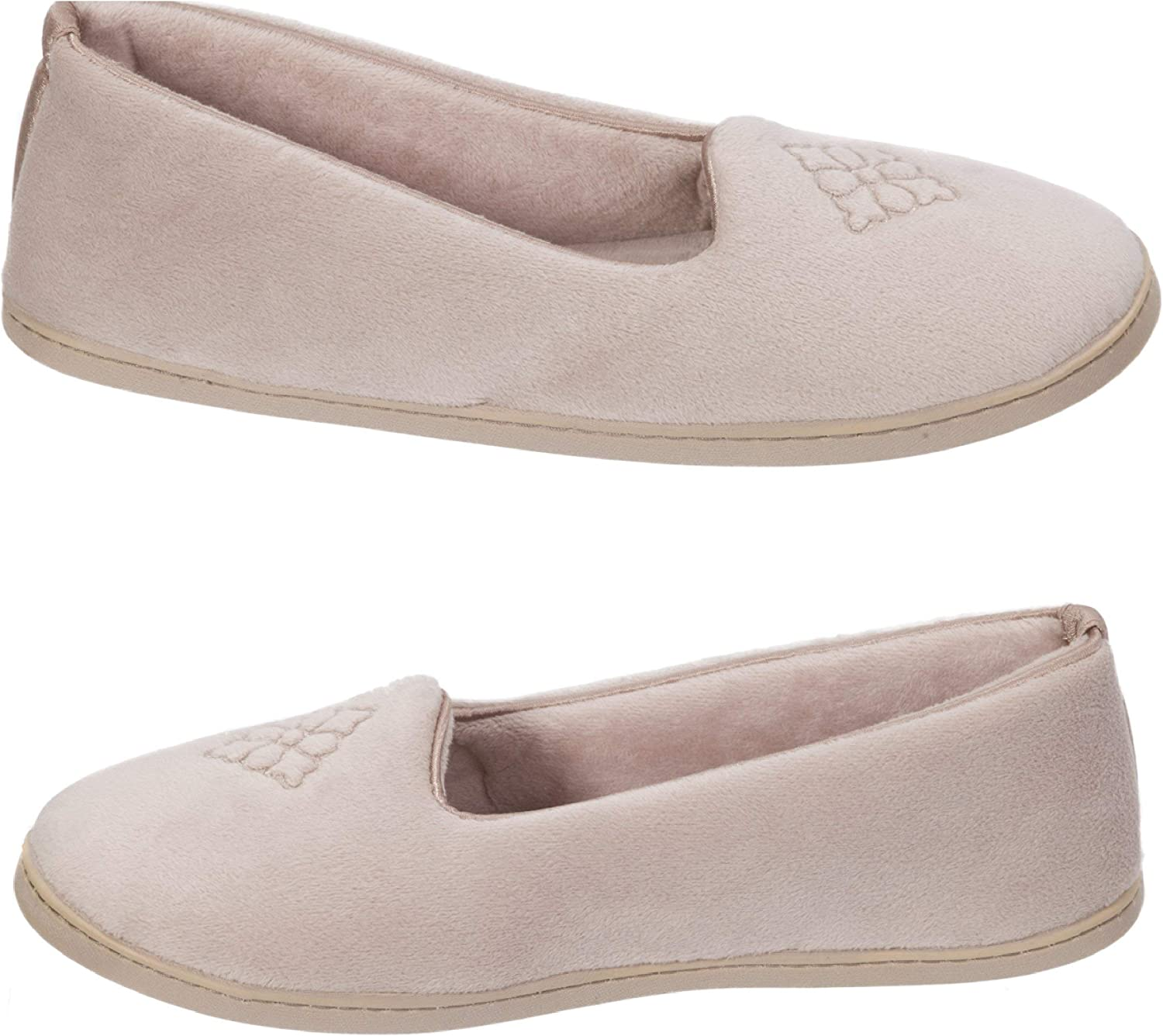 Dearfoams Women's Micro Velour Embroidered Closed Back Slippers