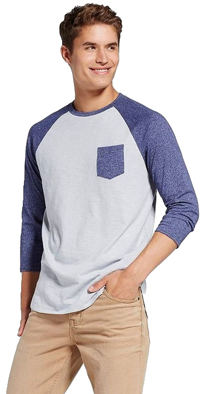 7f914565b Amazon.com: Masked Brand Mossimo Men's 3/4 Sleeve Raglan Tee Shirt With  Pocket: Clothing