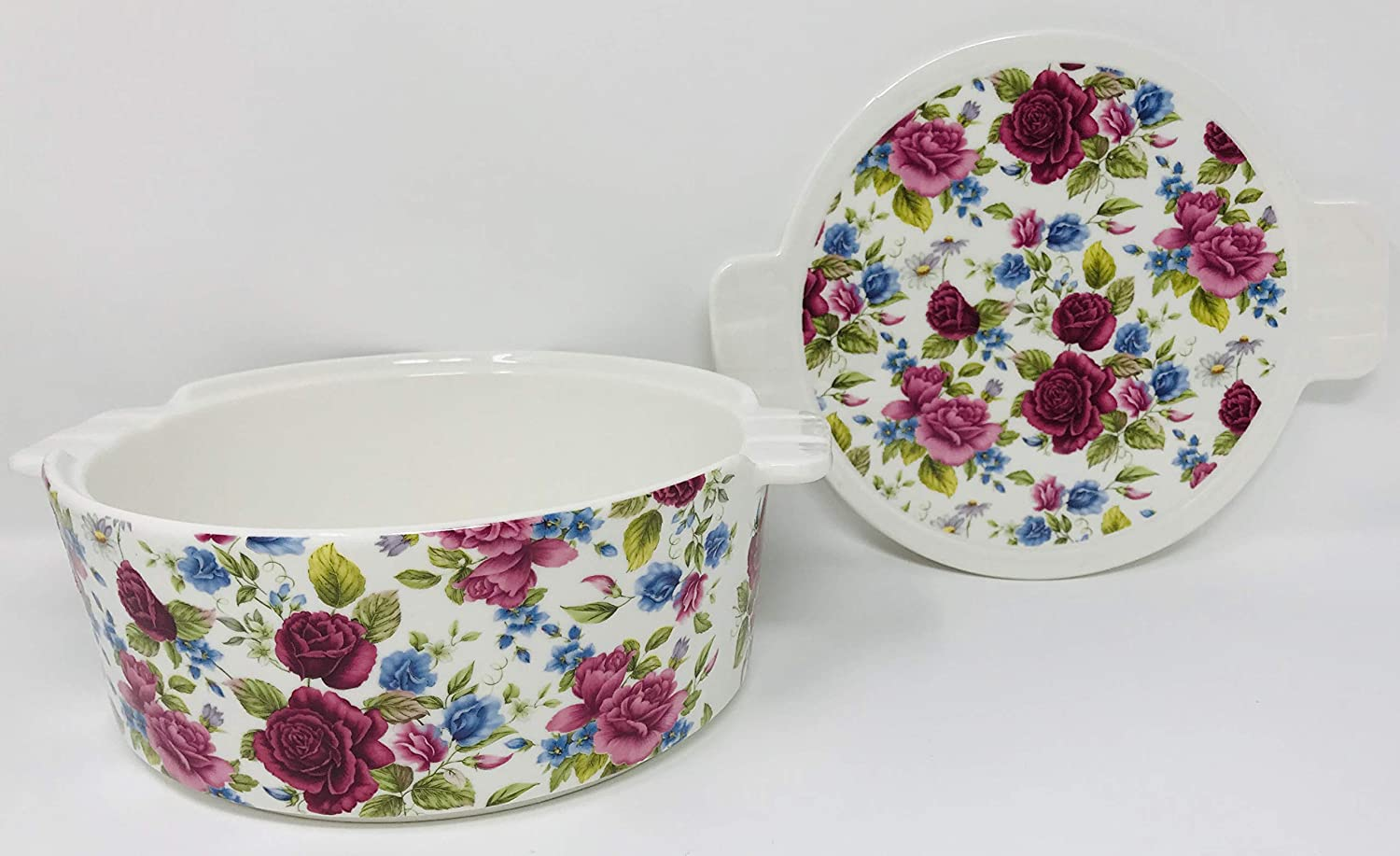 Use The Lid for A Tray Or Trivet Round 8 x 3.25 inches Casserole Cranberry Pink /& Blue Roses Decorate This 3 in 1 Oven Safe Lidded Porcelain Baking Dish