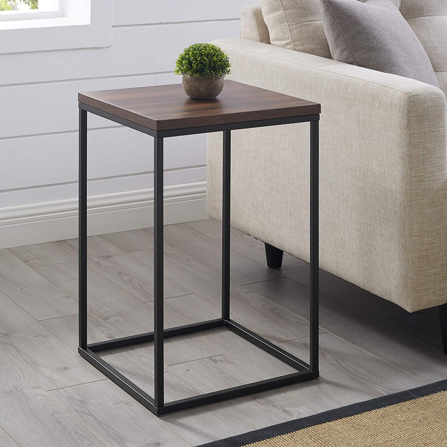 Walker Edison Modern Open Square Wood Side Accent Living Room Small End Table, 16 Inch, Dark Walnut