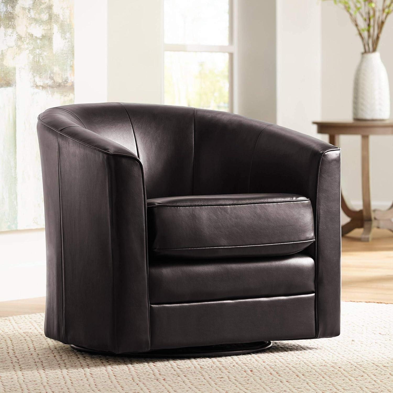 Keller Espresso Bonded Leather Swivel Club Chair - Studio 55D