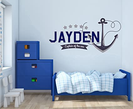 Amazon Com Custom Name Anchor And Stars Nautical Theme Baby Boy