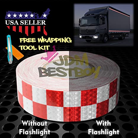"""*Checker Conspicuity Tape 2/""""x120/' Reflective Safety Warning Sign Car Truck RV"""