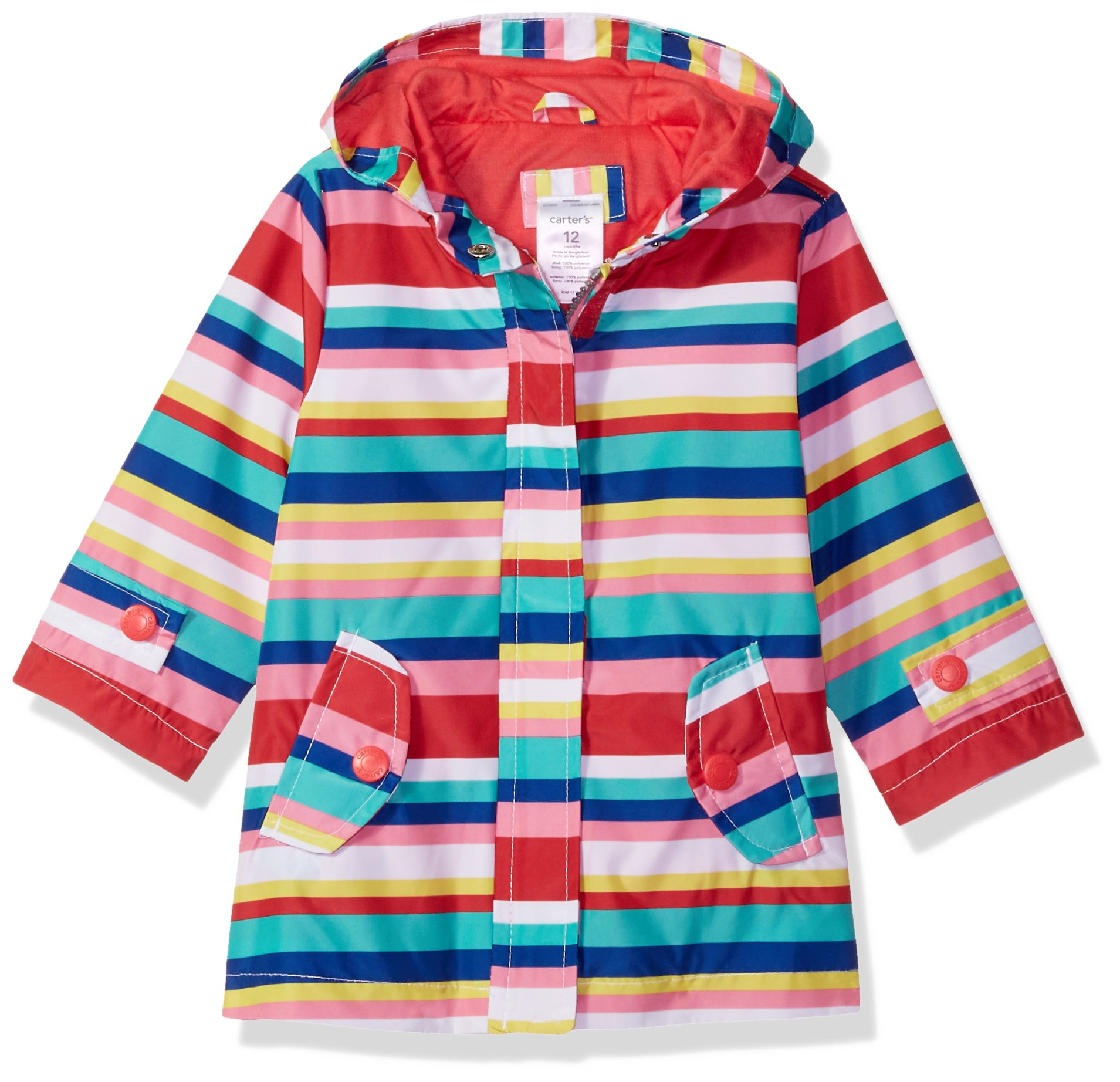 Carter's Baby Girls Her Favorite Rainslicker Rain Jacket, Multi Stripe, 18M