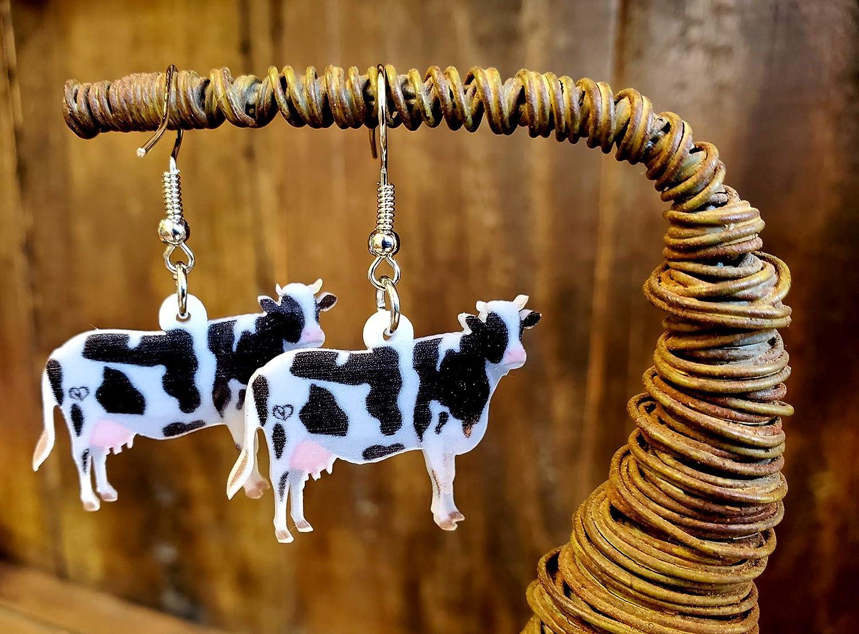 Pashal Boucles doreilles pendantes en forme de vache Noir//blanc