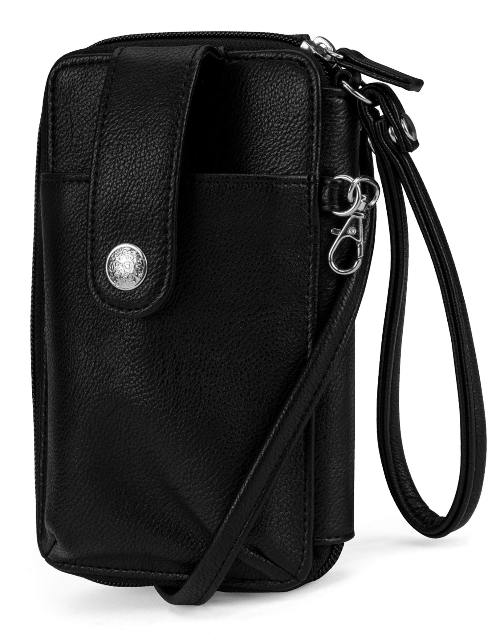 MUNDI Jacqui Vegan Leather RFID Womens Crossbody Cell Phone Purse Holder Wallet (Black Night) by Mundi