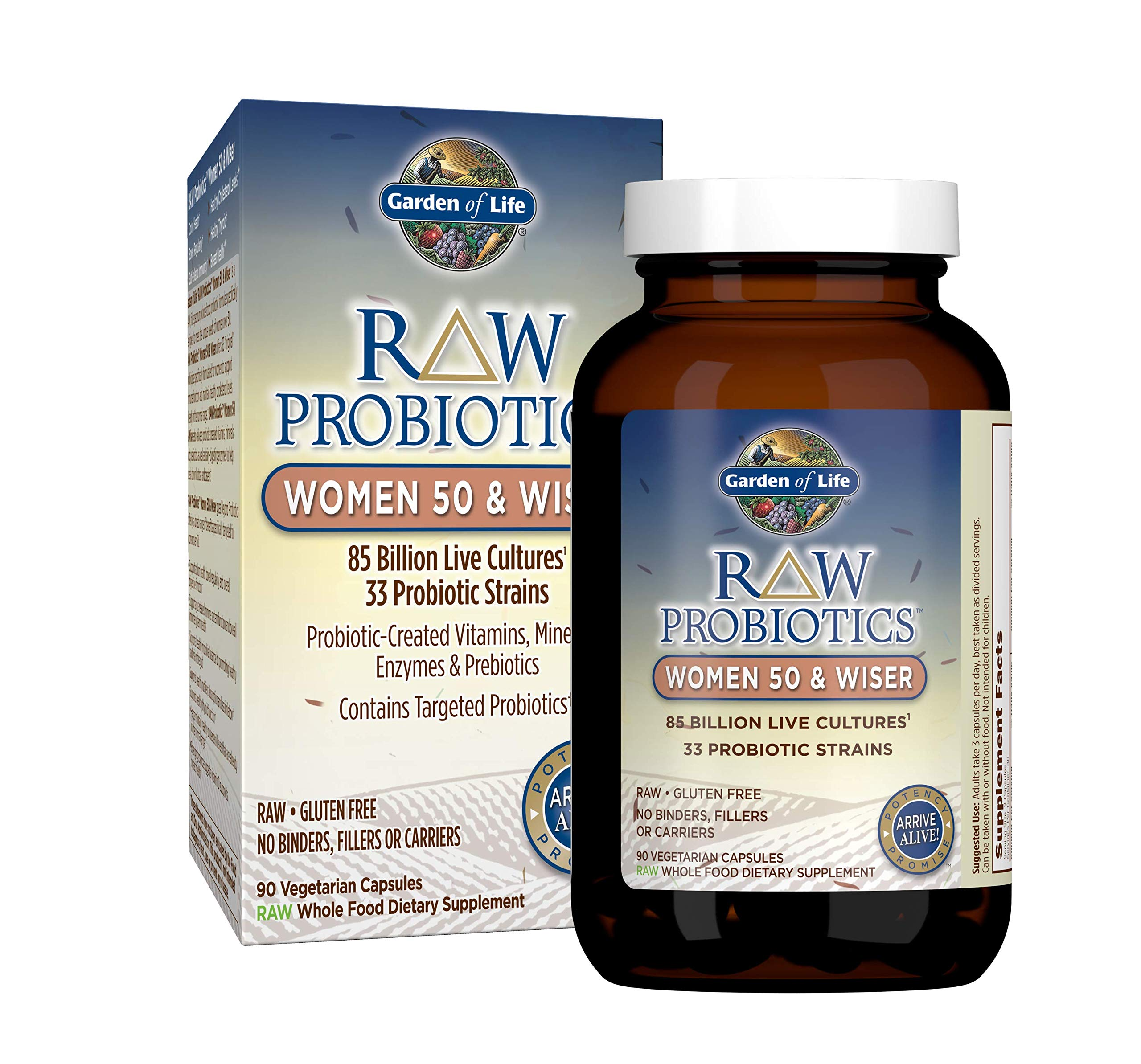 Garden of Life - RAW Probiotics Women 50 & Wiser - Acidophilus Live Cultures - Probiotic-Created Vitamins, Minerals, Enzymes and Prebiotics - Gluten Free - 90 Vegetarian Capsules by Garden of Life