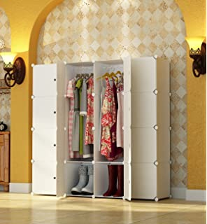 KOUSI Portable Wardrobe Closet For Bedroom Clothes Armoire Dresser Cube  Storage Organizer, 10 Cubesu00262 Hanging