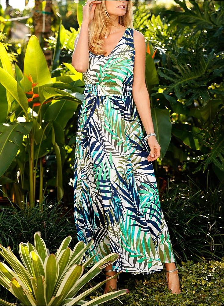 Lady V Neck Retro Vintage Summer Beach Open Front Back Dress Chiffon Floral Maxi