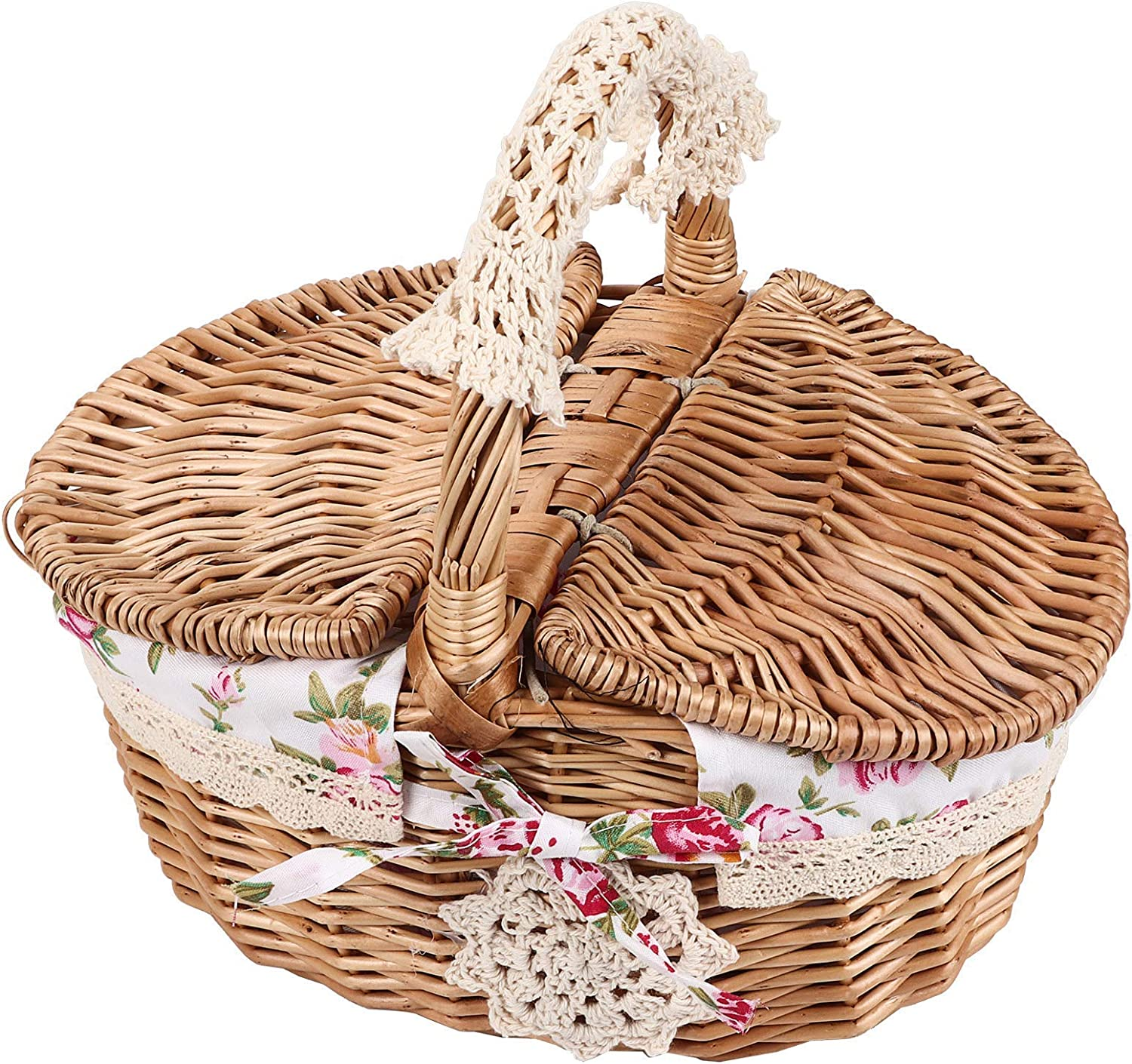 QNZ Picnic Basket,with Double Lids,Floral Lined Picnic Basket Rattan Food Storage Container Picnic Basket,Hand Woven Basket