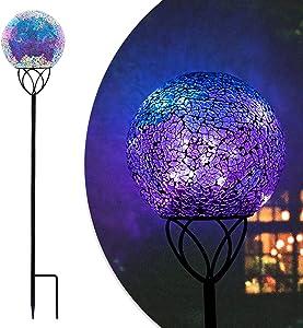 Solar Ball Garden Lights - Solar Mosaic Decorative Garden Stakes Mosaic Glass Globe Outdoor Waterproof Lights Purple