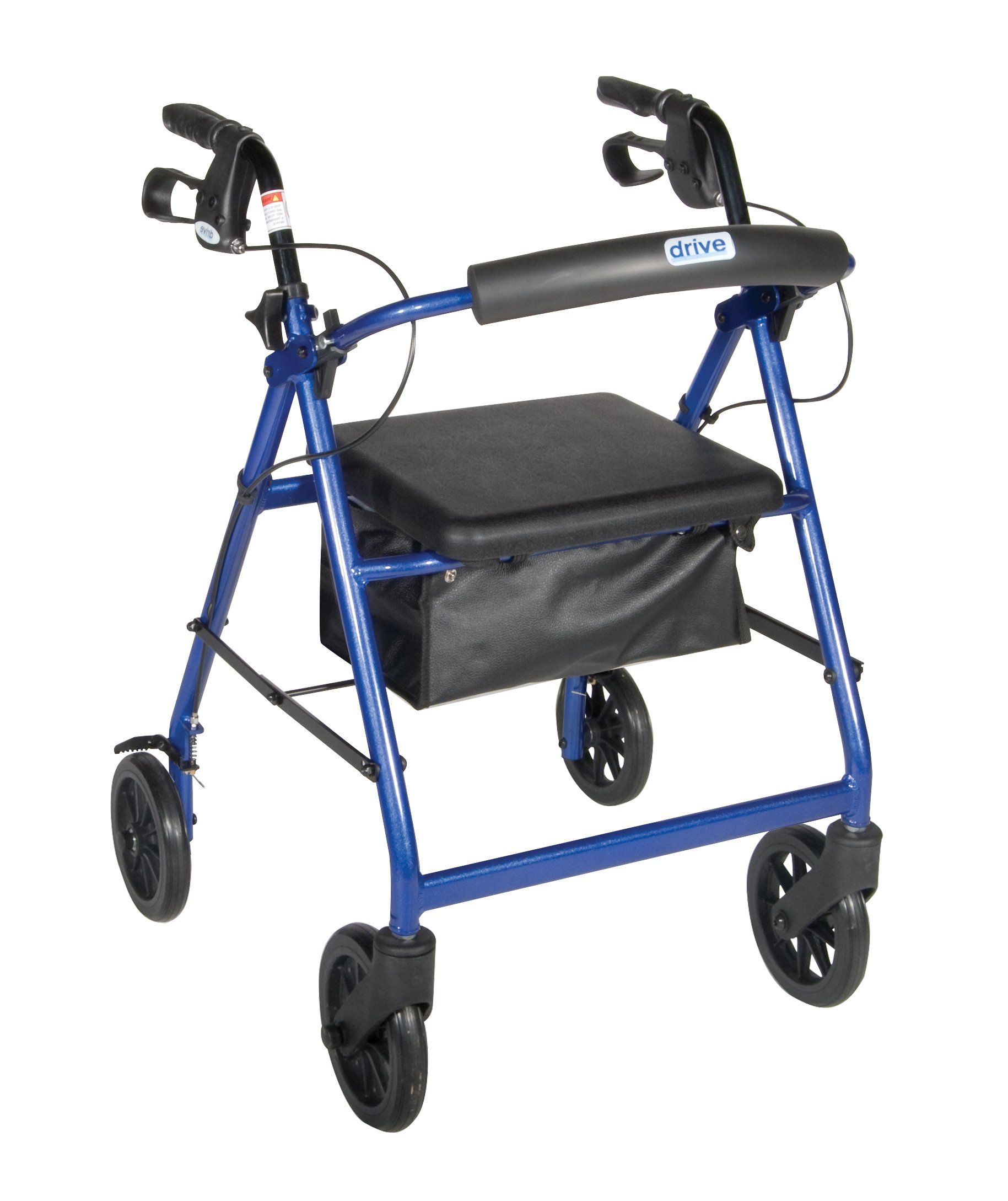 R728BL - Aluminum Rollator with Fold Up and Removable Back Support and Padded Seat, Blue
