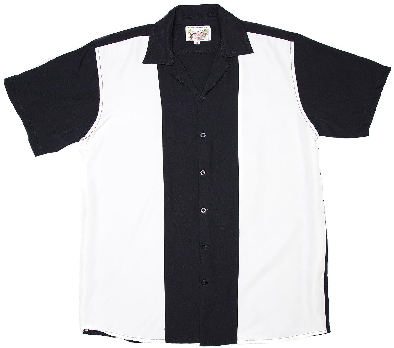 416f96e82 Amazon.com: Ragstock Men's Short Sleeve Retro Bowling Shirt,  Blk-Ivory-XX-Large: Clothing