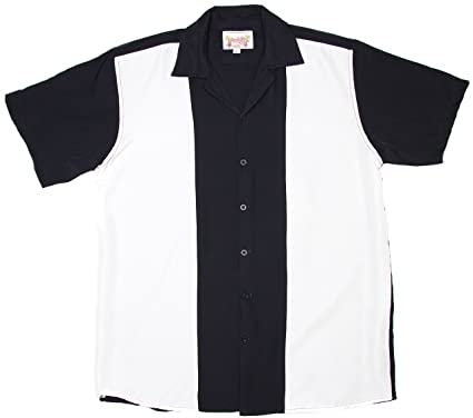 aca98000a Amazon.com: Ragstock Men's Short Sleeve Retro Bowling Shirt, Blk ...