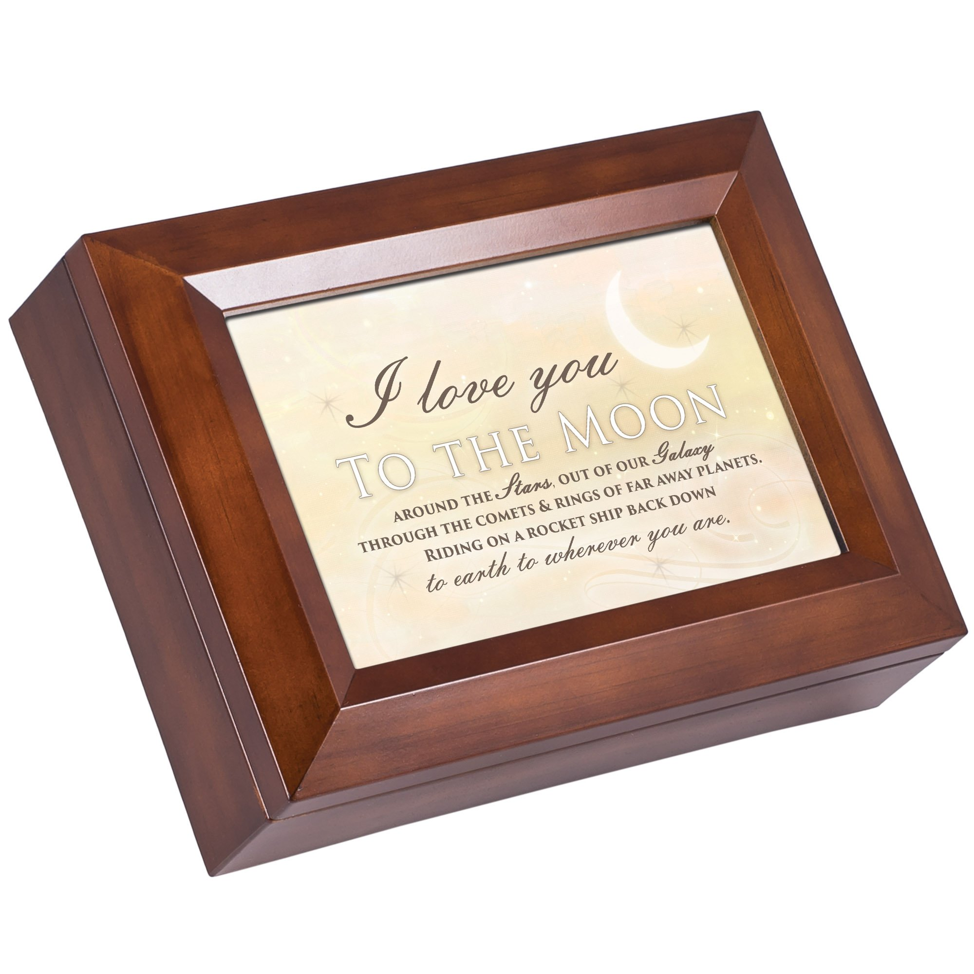 Cottage Garden Love You to the Moon Wood Finish Jewelry Music Box Plays All You Need is Love by Cottage Garden (Image #1)