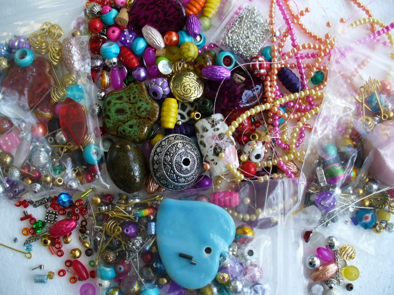 Three Bags of Assorted Beads
