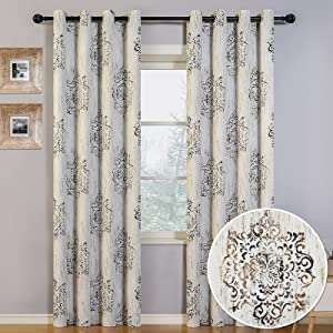 MYSKY HOME Medallion Blackout Curtains 84 Inch Length,Thermal Insulated Grommet Room Darkening Curtains for Bedroom Dahlia Floral Printed Damask Rustic Curtains Panel for Living Room, 1 Panel, Cafe