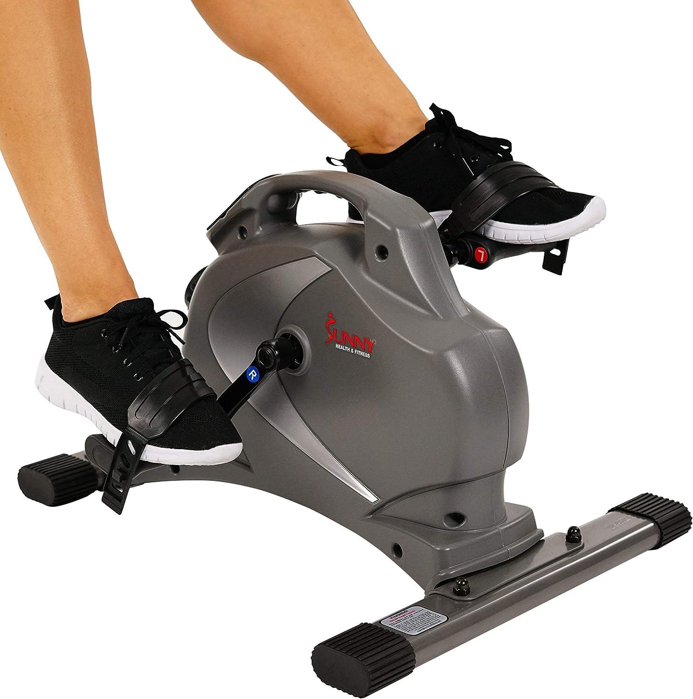 Sunny Health Fitness SF-B0418 Magnetic Mini Exercise Bike, Gray Renewed