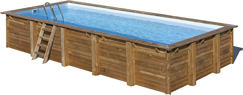 Piscina de madera GRE rectangular Braga Wooden Pool GRE 790095 ...