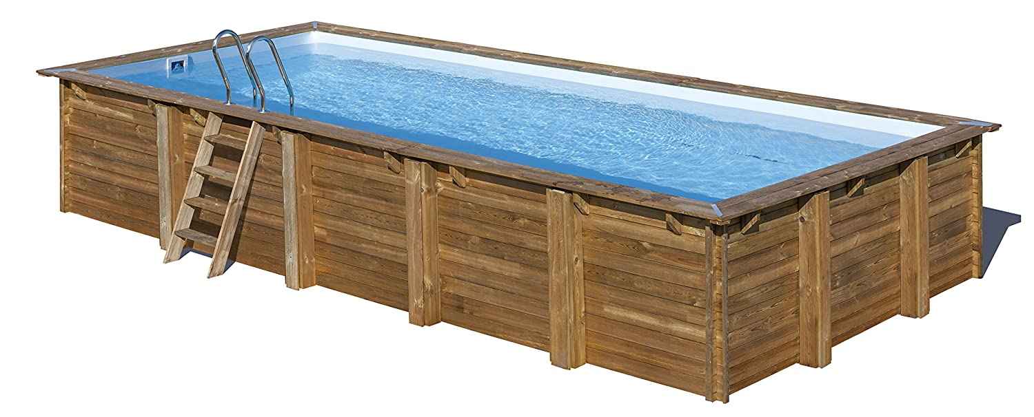 Piscina de madera GRE rectangular Braga Wooden Pool GRE 790095 ...