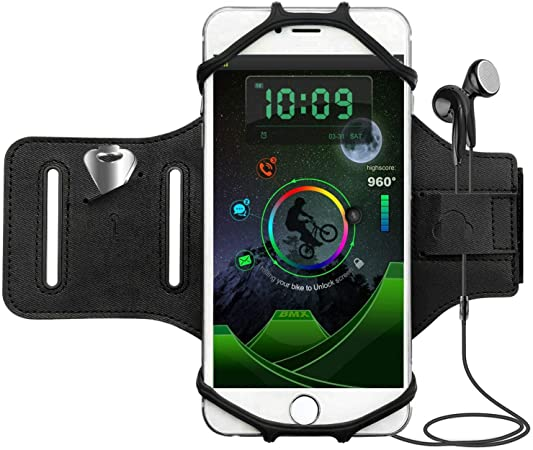 Jogging corsa esercizio palestra Mountain bike per cellulare da 3,5-6 pollici iPhone 8 7 6s Plus Samsung Huawei Sport Armband Porta Cellulare ruotabile a 180/° Fascia da Braccio Sportiva