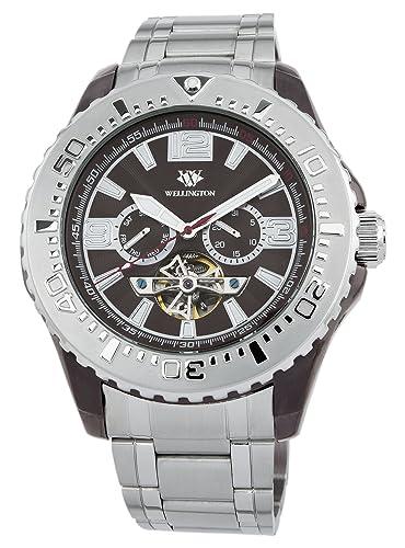 Wellington Cork WN301-141 - Reloj analógico automático para hombre, correa de acero inoxidable color plateado: Amazon.es: Relojes