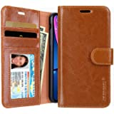 iPhone XR Wallet Case, Jisoncase Leather iPhone Xr Cases with Credit Card Holder Slot Magnetic Closure Shockproof Protective Flip Case for Apple iPhone XR 6.1'' Brown