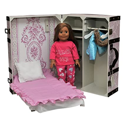 The Queenu0027s Treasures 18 Inch Doll Pink Storage Trunk Suitcase, Storage  Clothes, Doll Bed