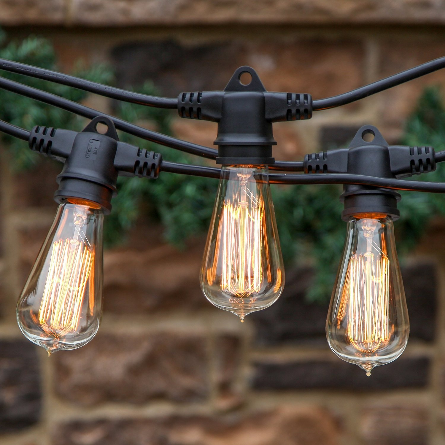Brightech   Ambience Pro Vintage Edition With WeatherTite Technology    Outdoor Weatherproof Commercial Grade Lights With Included Antique Edison  Bulbs ...