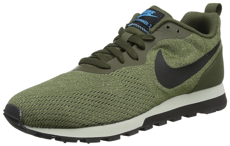 Nike MD Runner 2 Eng Mesh, Zapatillas de Running Para Hombre 43 EU Verde (Cargo Khaki/Black-light Blue Fury 301)