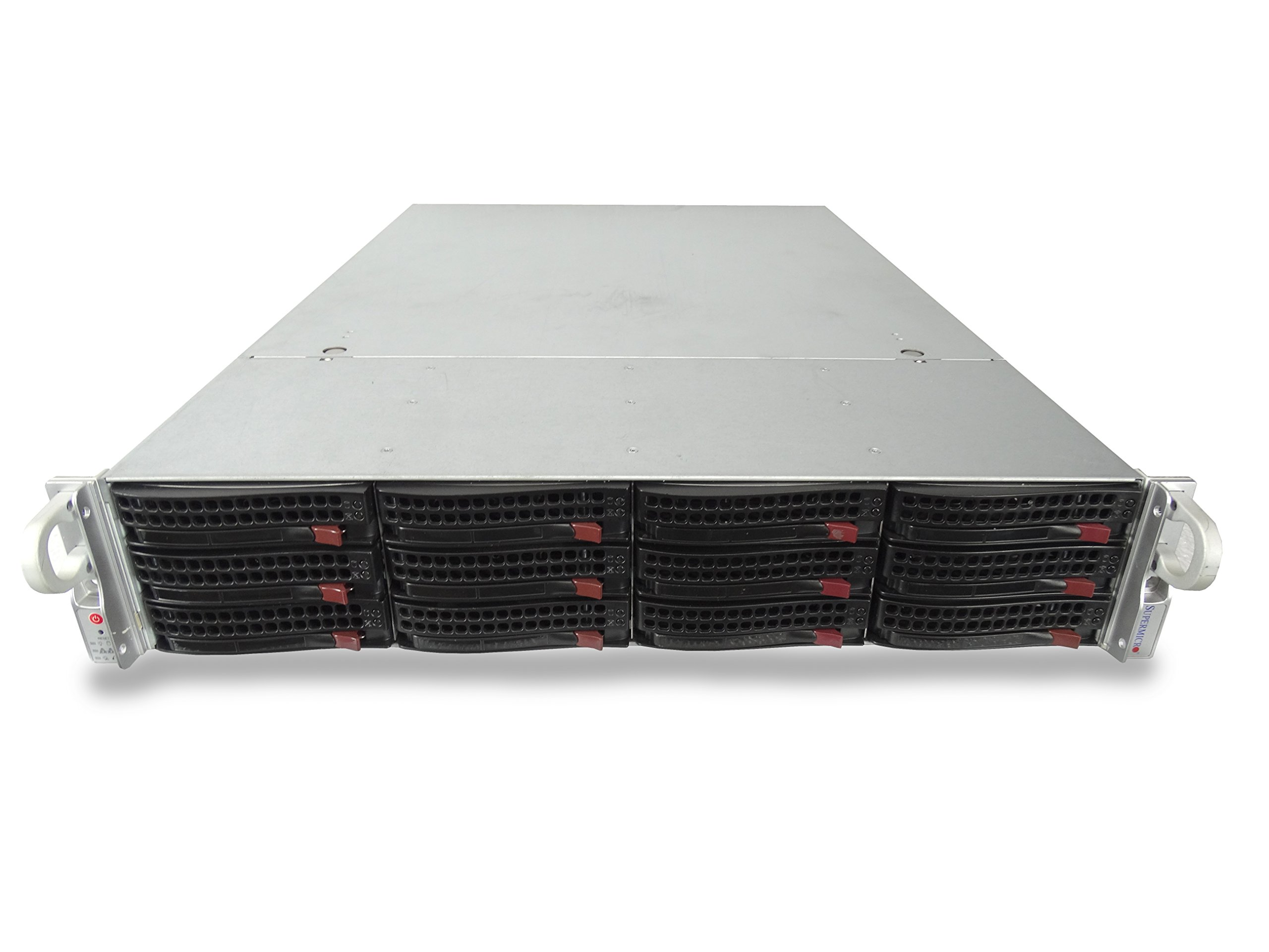 Supermicro SuperServer 6027R 12-Bay LFF 2U Server with X9DRi-LN4F+, 2X Intel Xeon E5-2630L V2 2.4GHz 6C, 16GB DDR3, 4X Trays Included, 9265-8i, 2X 920W PSUs, No Rails (Certified Refurbished)