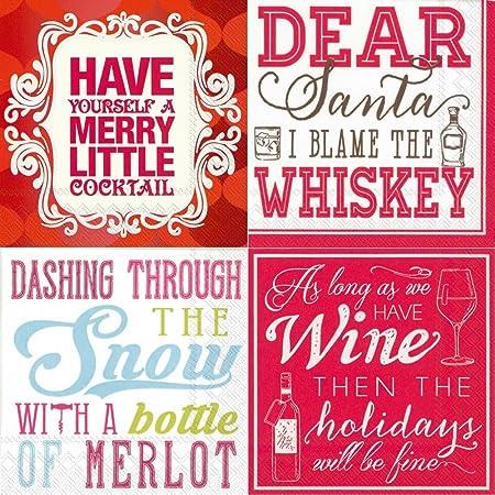 Servilletas de cóctel de Navidad divertida Funny frases 80 Count Variety Pack 20 cada diseño de grosor 3 capas: Amazon.es: Hogar