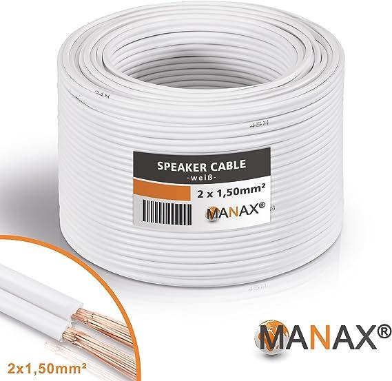 2 x 0,75 mm/² CCA /& Meliconi Sound 50 Black Cavo per altoparlante bianco Coppia di Supporti per Casse Acustiche 50 m