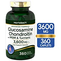 Glucosamine Chondroitin   3600 mg   360 Caplets   MSM and Turmeric   Advanced Formula for Joint Support   Non-GMO, Gluten Free   by Horbaach
