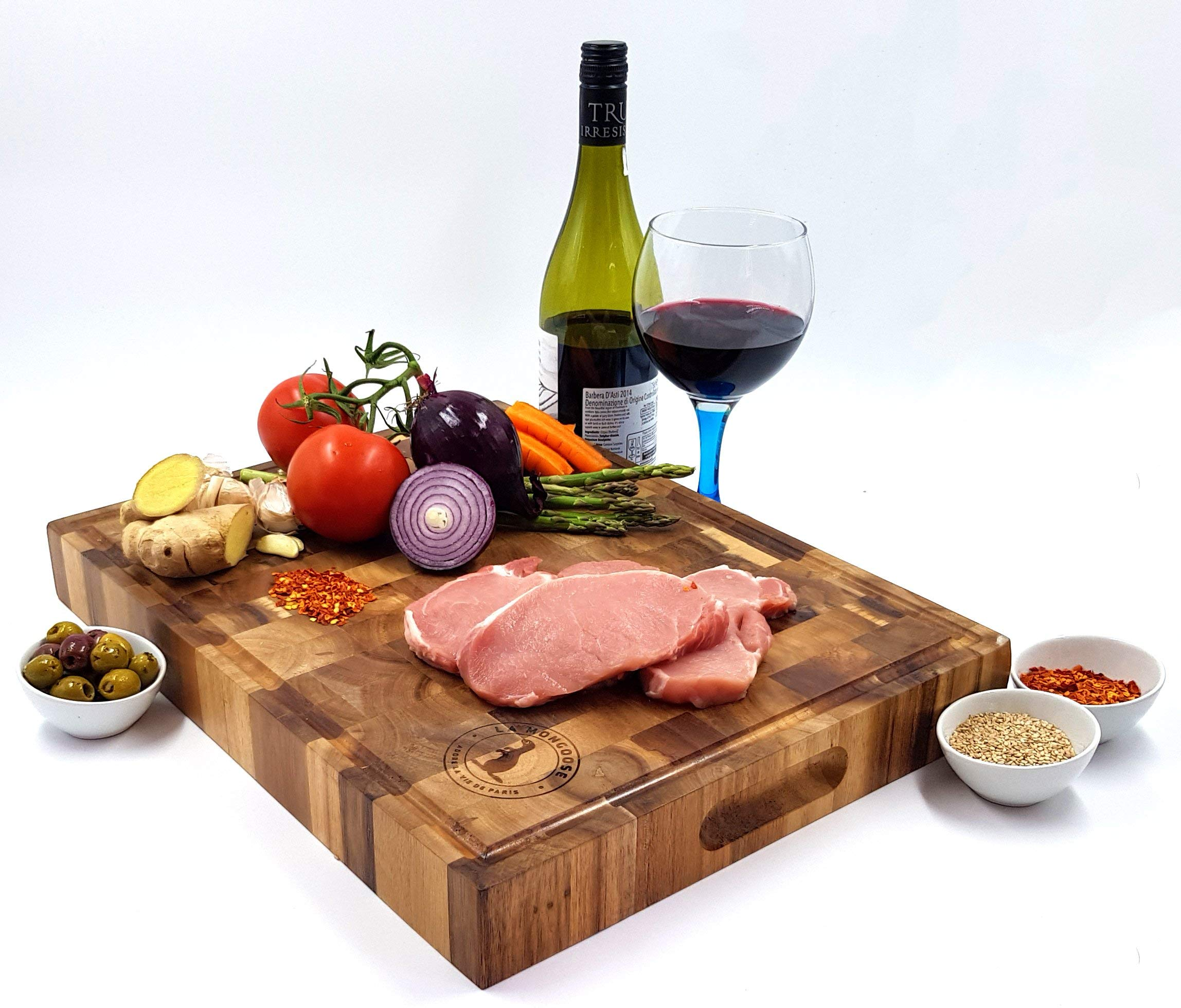 Extra Large Thick Acacia Wood Cutting Board 17 x 13 x 2 inches by La Mongoose. Juice Groove and Hand Grips Reversible Anti Microbial Solid Sturdy End Grain Butchers Block Chopping Serving Tray Platter by La Mongoose (Image #4)