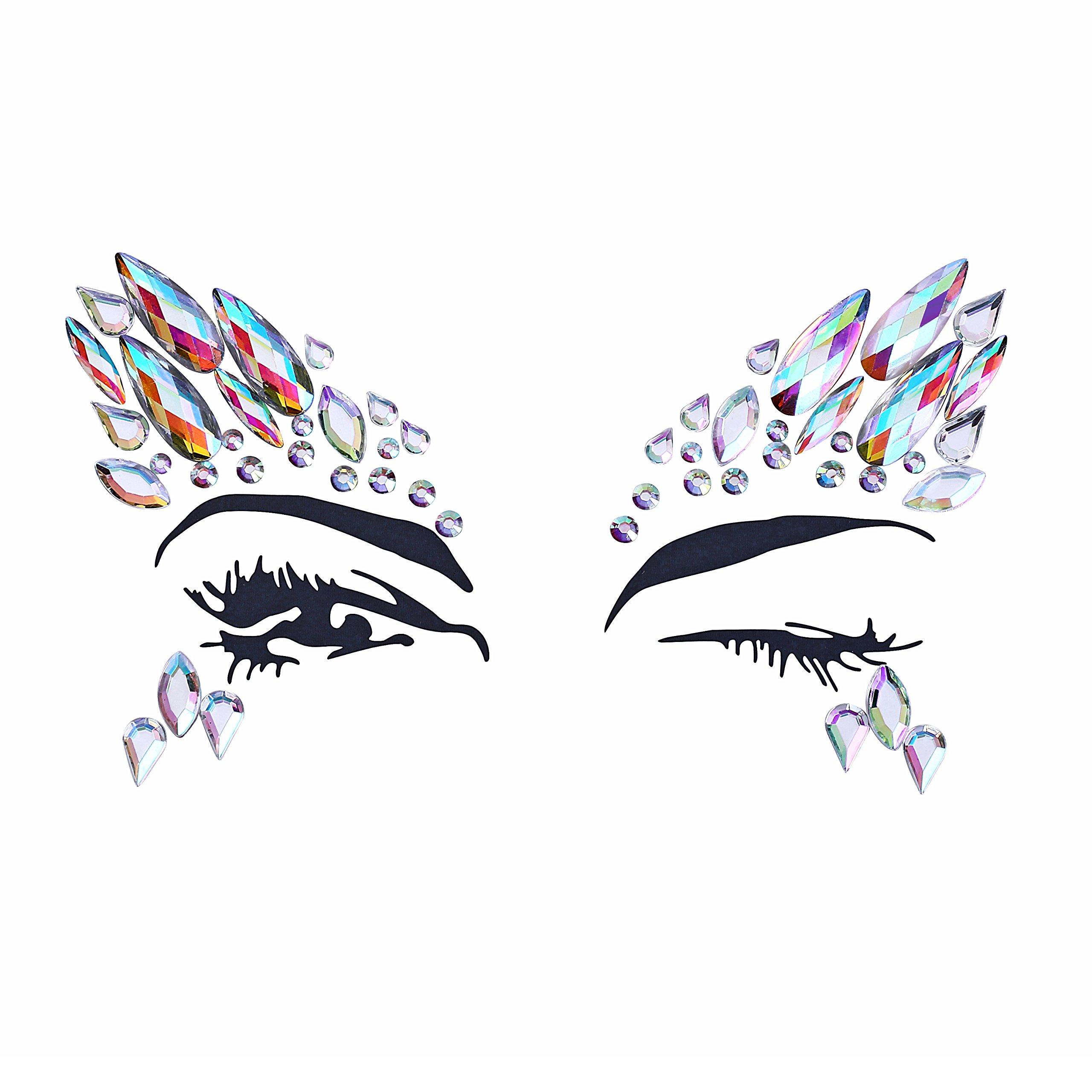 8 Sets Women Gems Glitter Rhinestone Mermaid Face Jewels Tattoo Crystal Tears Gem Stones Bindi Temporary Stickers by du fangbin (Image #3)