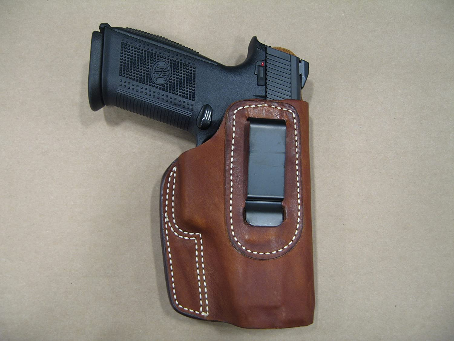 Ruger American Pistol 9mm / 45 IWB Leather In Waistband Concealed Carry  Holster TAN RH