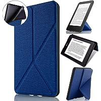 Capa Kindle Paperwhite WB Auto Hibernação Sensor Magnético Silicone Flexível Origami Estilo Tecido Azul Marinho