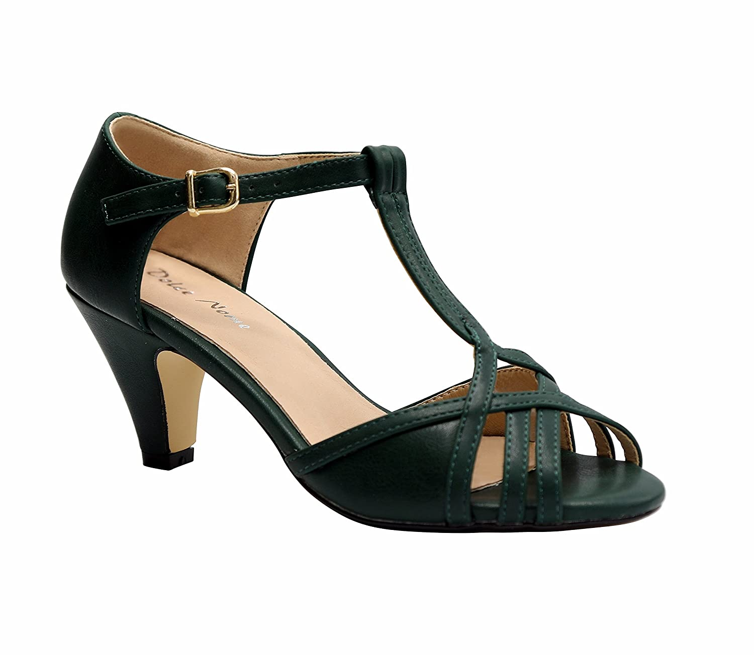 Dolce Nome Open Toe Heels Women's Designer Shoes Italian Style Well Constructed Ladies Fancy Shoes B07CBFP8XV 36 M EU|Green