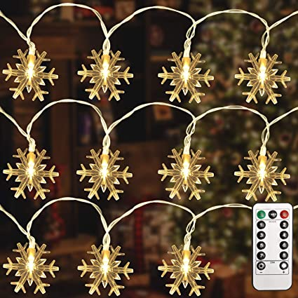 Lights LED String Indoor Snowflake Curtain Xmas Fairy Waterproof Wave Outdoor US