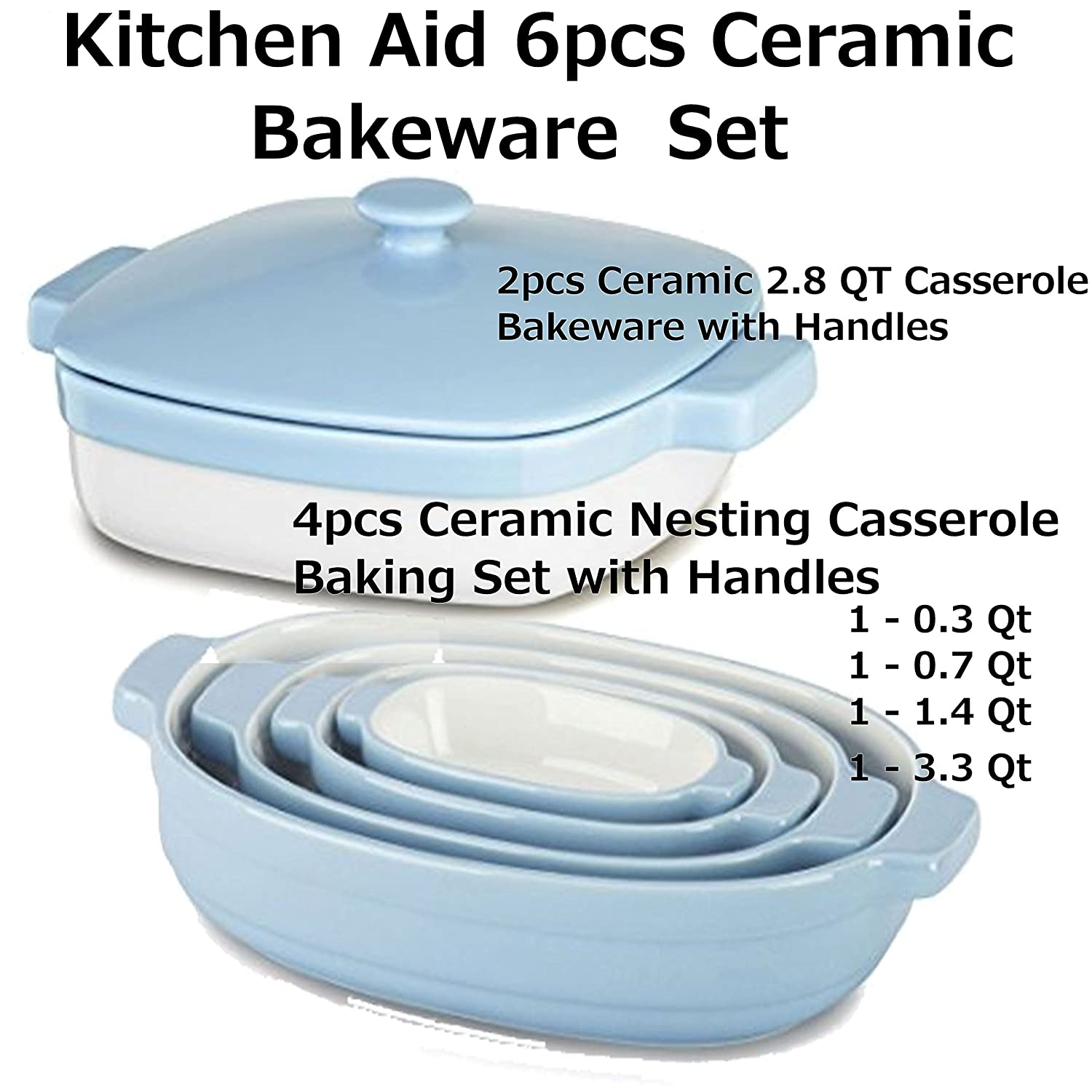 KitchenAid 4pc Ceramic Nesting Casserole Dishes Baking Set Cooking Pans Handles & Streamline Ceramic 2PCS 2.8-Quart Casserole Bakeware BUNDLE Total 6PCS KitchenAids
